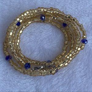 Waist beads, gold & royal blue, waist washer bead